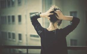 Картинка девушка, вид, балкон