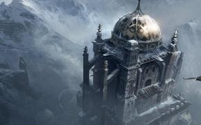 Обои снег, горы, орел, крепость, assassin's creed, revelations, Masyaf