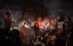 Картинка battlefield, blood, underworld, knife, darkness, hell, demons, skeletons, demon girl