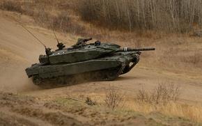 Картинка дорога, танк, боевой, Leopard-A4M
