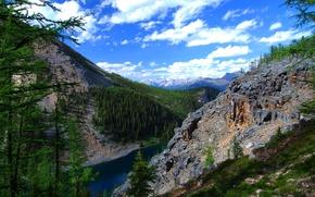 Картинка небо, облака, горы, озеро, Alberta, Canada, канада
