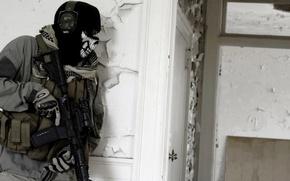 Картинка дом, череп, двери, очки, солдат, призрак, автомат, modern warfare 2, штурм, call of duty, ghost, ...