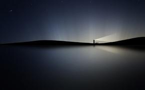 Картинка вода, ночь, сияние, маяк