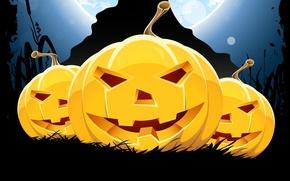 Картинка holiday, праздник, хэллоуин, веселые тыквы, fun pumpkin, horror stories, улыбка, Halloween, smile, страшилки