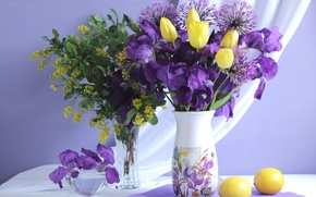 Обои тюльпан, лимон, букет, ирис