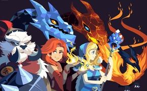 Картинка лед, огонь, fire, phoenix, ace, dota2, lina, tusk, cristal maiden, jakuro
