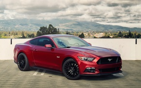 Картинка mustang, red, ford, 5.0, 2015