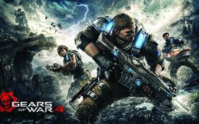 Обои оружие, мост, пила, винтовка, зубцы, броня, солдат, Gears of War 4, Gears 4, боец