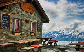 Картинка snow, hut, горы, зима, cabin, архитектура, hotel, sky, кабина, небо, снег, природа, хижины, отель, вид, ...