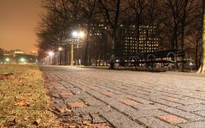 Картинка ночь, город, огни, New York City
