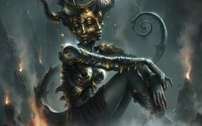 Картинка ноги, тело, маска, underworld, face, god, goddess of pain, Vammatar
