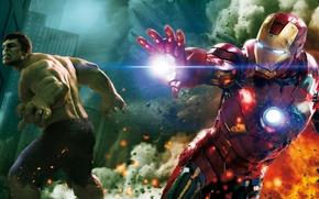 Обои Железный Человек, Битва, The Avengers, Мстители, Халак