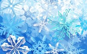 Обои синий, снежинки, зима