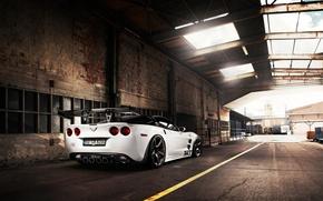 Обои крыша, небо, тюнинг, суперкар, corvette, шевроле, zr1, вид сзади, chevrolet, tuning, корвет, tikt tripple-x