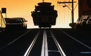 Обои дорога, Трамвай, рельсы