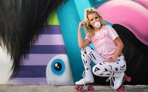 Картинка взгляд, девушка, стиль, фон, граффити, ролики, милашка, жевательная резинка