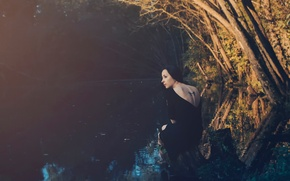 Картинка девушка, река, тату, на природе, feeling the light