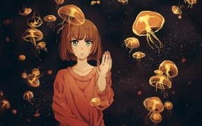 Картинка девушка, аниме, слезы, арт, медузы, twinmix
