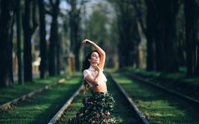 Картинка девушка, юбка, розы, David Olkarny
