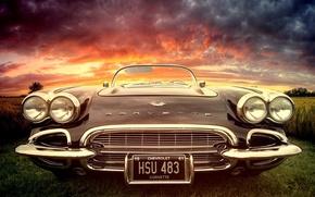 Картинка car, машина, закат, corvette, раритет, classic, chrome, chrevrolet