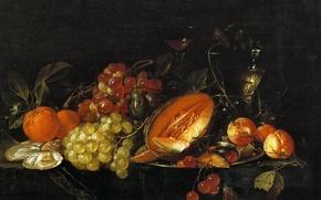 Обои ягоды, картина, Натюрморт, фрукты, Корнелис де Хем, плоды
