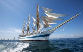 Картинка море, фрегат, корабль, паруса, парусник, судно