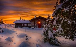Картинка зима, небо, снег, пейзаж, природа, дом, house, white, sky, landscape, nature, sunset, beautiful, winter, snow, …