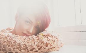 Картинка глаза, взгляд, девушка, лицо, волосы, губы, рыжая, girl, блик, красивое, photography, model, James Ward