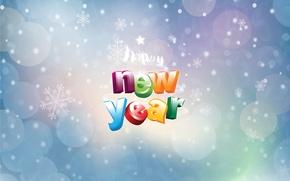 Картинка круги, снежинки, фон, надпись, happy new year, поздравление, новогодние обои