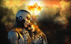 Картинка фон, война, роботы
