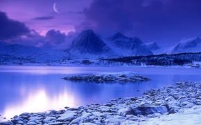 Обои луна, вода, Синий, снег, горы, зима