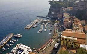 Картинка море, дома, бухта, Италия, Сорренто