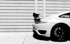 Картинка белый, стена, чёрно-белое, сзади, porsche, GT3, 991, Turbo S, The Crew