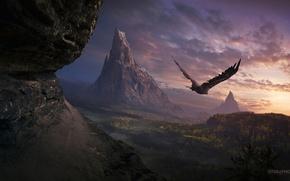 Картинка властелин колец, горы, природа, небо, закат, орел