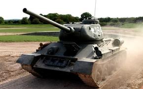 Картинка поле, советский, средний танк, T-34-85, Вов, танкодром