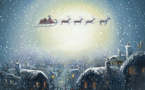 Обои сочельник, дед мороз, сани, домики, праздник, снег, подарки, картинка, рождество, упряжка, город, окна, огни, олени, ...