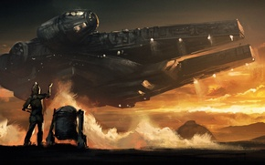 Обои star wars, Звёздные войны, art, millenium falcon, 2015, droid, The Force Awakens, Episode VII, Пробуждение ...
