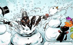 Картинка рождество, подарки, снеговик, steam, ассассин, распродажа, скидки, четверг