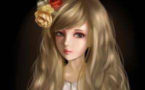 Картинка девушка, цветы, лицо, темный фон, волосы, арт