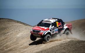 Картинка небо, Песок, Пыль, Toyota, Rally, Dakar, Тойота, Передок