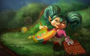 Картинка поляна, шоколад, арт, девочка, леденец, сладкоежка, карамелька