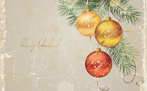 Картинка праздник, шары, игрушки, новый год, ель, вектор, ёлка, декорации, happy new year, christmas decoration, новогодние ...