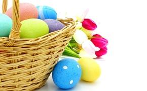 Картинка корзина, яйца, пасха, тюльпаны, flowers, spring, eggs, easter