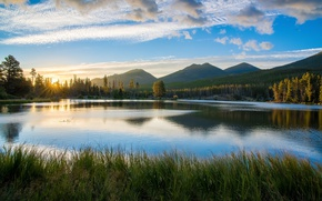 Картинка лес, небо, трава, солнце, облака, лучи, деревья, закат, горы, озеро