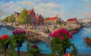Картинка пейзаж, цветы, люди, дома, Нидерланды