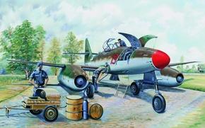 Картинка war, art, aviation, ww2, German Fighter, Messerschmitt Me262A1a, painting.jet