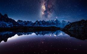 Обои млечный путь, горы, ночь, звезды, небо