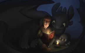 Обои Иккинг, Беззубик, Как приручить дракона, книга., ночная фурия