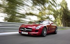 Обои скорость, дорога, деревья, AMG, Mercedes, Benz, SLS