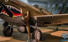 Картинка девушка, самолет, зубы, брюнетка, girl, aviation, авиа, MMO, Wargaming.net, World of Warplanes, WoWp, BigWorld, аркада, …